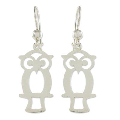 Sterling silver dangle earrings, 'Maya Owl' - Guatemalan Sterling Silver Owl Shape Earrings