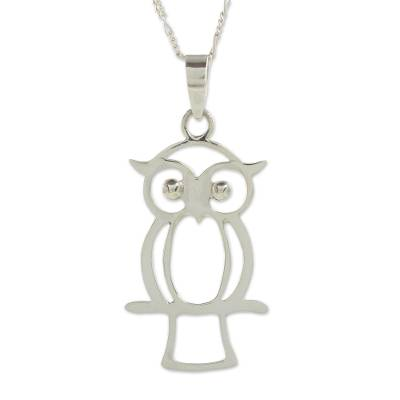 Sterling silver pendant necklace, 'Maya Owl' - Owl Theme Handcrafted Guatemalan Sterling Silver Necklace