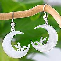 Sterling silver dangle earrings, 'Magical Fairies' - Fairies on Sterling Silver Crescent Moon Hook Earrings