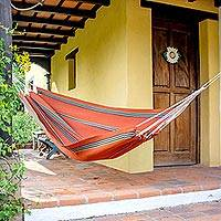 Handwoven hammock, 'Sunset Vista' (single) - Hand Loomed Orange Striped Single Acrylic Hammock