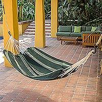 Handwoven hammock, 'Laurel Green' (single) - Handwoven Striped Single Guatemalan Hammock