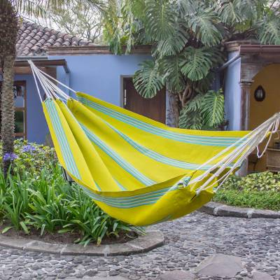 Handwoven hammock, 'Joyous Spring Buds' (single) - Handwoven Single Hammock in Chartreuse and Turquoise