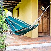 Handwoven hammock, 'Happy Beach' (single) - Guatemalan Handwoven Green Striped Hammock (Single)