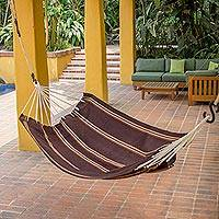 Handwoven hammock, 'Sandy Path' (single) - Hand Woven Espresso Striped Hammock (Single) Guatemala
