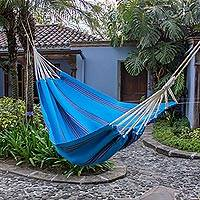 Handwoven hammock, 'Beauty of the Sea' (single) - Hand Woven Cyan Striped Hammock from Guatemala (Single)