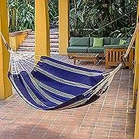 Handwoven hammock, 'Cerulean Voyager' (single) - Hand Woven Navy Blue Striped Hammock (Single) from Guatemala