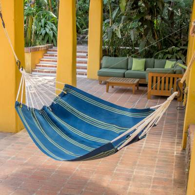 Acrylic hammock, 'Cloudy Teal Forest' (single) - Striped Teal Fabric Hammock (Single) from Guatemala