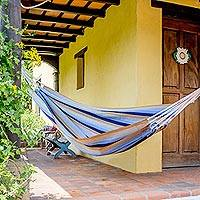 Handwoven hammock, 'Quiet Beach' (single) - Guatemalan Single Hammock Handwoven in Blue and Brown