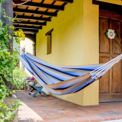 Handwoven hammock, 'Quiet Beach' (single) - Guatemalan Single Hammock Handwoven in Blue and Brown