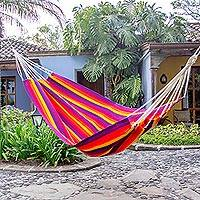 Handwoven hammock, 'Volcanic Flame' (single) - Hand Woven Multicolored Hammock (Single) from Guatemala