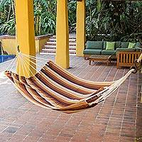 Handwoven hammock, 'Earthly Reign' (single) - Light and Dark Brown Hand Woven Guatemalan Hammock Single