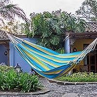 Handwoven hammock, 'Happy Day' (single) - Guatemalan Hand Woven Single Size Fabric Hammock