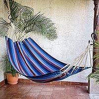 Handwoven hammock, 'Beauty of the Lake' (single) - Hand Woven Cyan Mauve Single Hammock from Guatemala