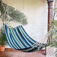 Handwoven hammock, 'Cloudy Forest' (single) - Hand Woven Striped Hammock (Single) from Guatemala