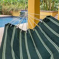 Handwoven hammock, 'Laurel Green' (double) - Guatemalan Handwoven Green Striped Hammock (Double)