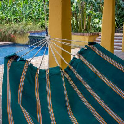 Handwoven hammock, 'Happy Beach' (double) - Hand Woven Emerald Striped Hammock (Double) from Guatemala