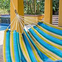 Handwoven hammock, 'Happy Day' (double) - Hand Woven Chartreuse Striped Hammock (Double) Guatemala