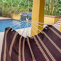 Handwoven hammock, 'Sandy Path' (double) - Hand Woven Espresso Striped Double Hammock from Guatemala