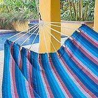 Handwoven hammock, 'Beauty of the Lake' (double) - Hand Woven Cyan Striped Double Hammock from Guatemala