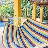 Handwoven hammock, 'Tropical Breeze' (double) - Nature Inspired Handwoven Striped Double Size Hammock