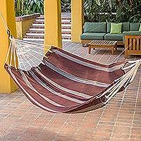Cotton hammock, 'Coffee Break' (single) - Handwoven Brown Striped Single Cotton Hammock