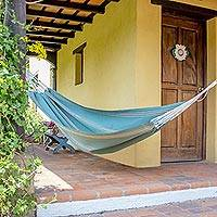 Cotton hammock, 'Always Springtime' (single) - Guatemalan Handwoven Green Cotton Hammock (Single)