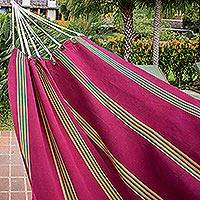 Cotton hammock, 'Sunflower Valley' (single) - Guatemalan Handwoven Deep Red Striped Cotton Single Hammock