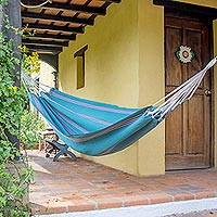 Cotton hammock, 'Lake Haven' (single) - Aqua Color Striped Hammock Hand Woven in Guatemala