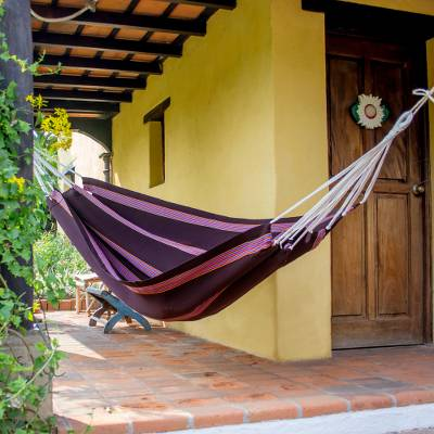 Cotton hammock, 'Traditional Beauty' (single) - Single Size Brown Striped Hand Woven Fabric Hammock