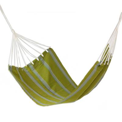 Cotton hammock, 'Olives and Palm Trees' (single) - Guatemalan Hand Woven Single Size Fabric Green Hammock