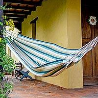 Cotton hammock, 'Afternoon at the Beach' (single) - Guatemala Handwoven Green and Turquoise Single Hammock