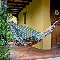 Cotton hammock, 'Caribbean Palms' (single) - Guatemala Handwoven Brown and Turquoise Single Hammock