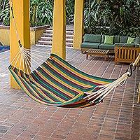 Cotton hammock, 'Sunflower Secrets' (single) - Guatemalan Handwoven Striped Cotton Hammock (Single)