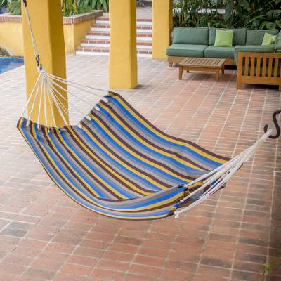 Cotton hammock, 'Remembered Streets' (single) - Striped Cotton Handwoven Guatemalan Hammock (Single)