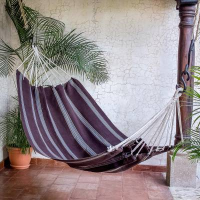 Cotton hammock, 'Coffee Break' (double) - Handwoven Brown Striped Double Cotton Hammock