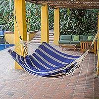 Cotton hammock, 'Seaside Village' (double) - Hand Woven Navy Striped Hammock (Double) Guatemala