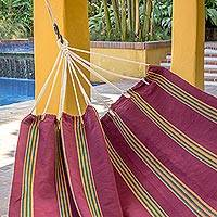 Cotton hammock, 'Sunflower Valley' (double) - Guatemalan Handwoven Deep Red Striped Cotton Double Hammock