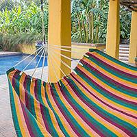 Cotton hammock, 'Sunflower Secrets' (double) - Guatemalan Handwoven Striped Cotton Hammock (Double)