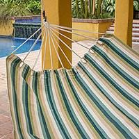 Cotton hammock, 'Afternoon at the Beach' (double) - Guatemalan Handwoven Striped Cotton Double Hammock