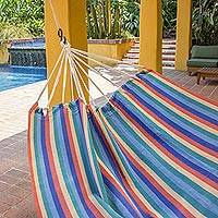 Cotton hammock, 'Sun and Sea' (double) - Multicolor Stripe All Cotton Hammock from Guatemala (Double)