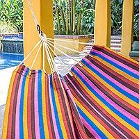 Cotton hammock, 'Fiesta en Guatemala' (double) - Hand Woven Multicolor Striped Double Hammock from Guatemala
