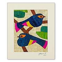 Natural fiber collage, 'Tropical Songbirds' - Signed Songbird Collage in Natural Fibers from Nicaragua