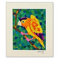 Natural fiber collage, 'Bosawas Parrot' - Signed Natural Fiber Parrot Collage from Nicaragua