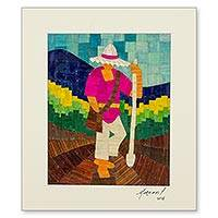 Natural fiber collage, 'Planting Maize' - Corn Husk Collage Portrait of a Nicaraguan Farmer