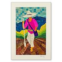 Natural fiber collage, 'Planting Corn' - Portrait of a Nicaraguan Farmer in Bright Corn Husk Collage