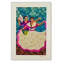 Natural fiber collage, 'Masaya Dancers' - Traditional Nicaraguan Folk Dance Scene in Corn Husk Collage