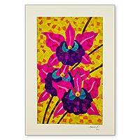 Natural fiber collage, 'Two Tropical Orchids' - Signed Natural Fiber Collage Wall Art of Orchid Flowers