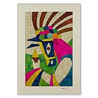 Natural fiber collage, 'Gueguense Dancer' - Natural Fiber Collage of a Nicaraguan Gueguense Dancer