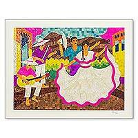 Natural fiber collage, 'Folk Dancers' - Nicaraguan Corn Husk Collage of Folk Dancers and Musicians