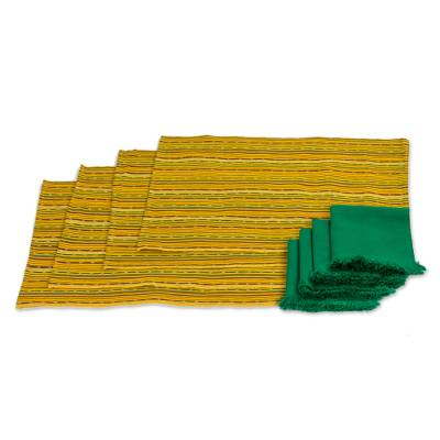 Cotton placemats and napkins, 'Kaqchikel Sun' (set for 4) - Backstrap Loom Handwoven Cotton Table Linens (Set for 4)